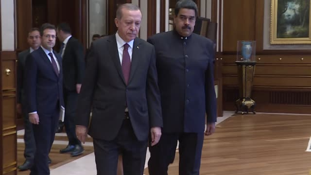 turkish president recep tayyip erdogan holds a meeting with his venezuelan counterpart nicolas maduro after an official welcoming ceremony at... - maduro stock videos & royalty-free footage