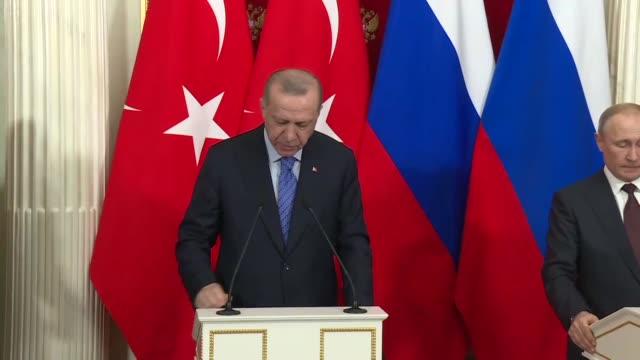 turkish president recep tayyip erdogan holds a press conference with his russian vladimir putin following an inter-delegation meeting at kremlin... - recep tayyip erdoğan stock videos & royalty-free footage