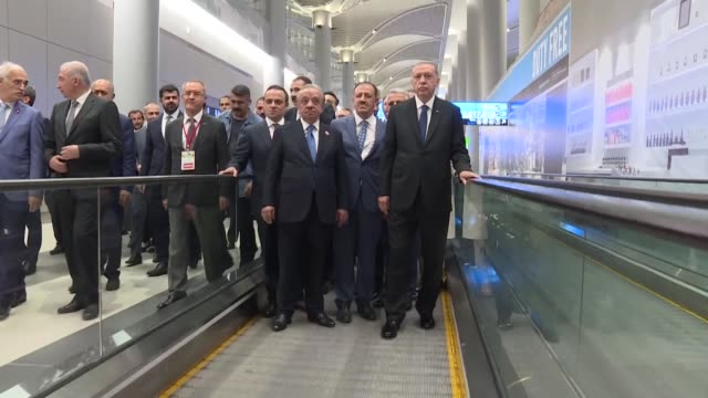Turkish President Recep Tayyip Erdogan inspects Istanbul's new colossal airport on June 21 2018 Erdogan's aircraft on Thursday made the first ever...