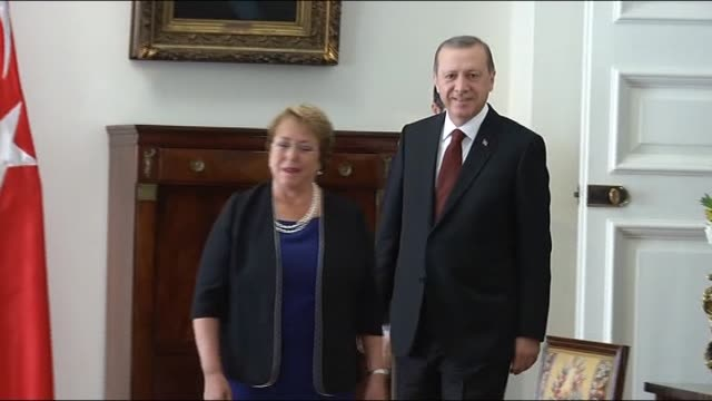 Turkish President Recep Tayyip Erdogan is welcomed by Chilean president Michelle Bachelet with an official welcoming ceremony at La Moneda Palace in...