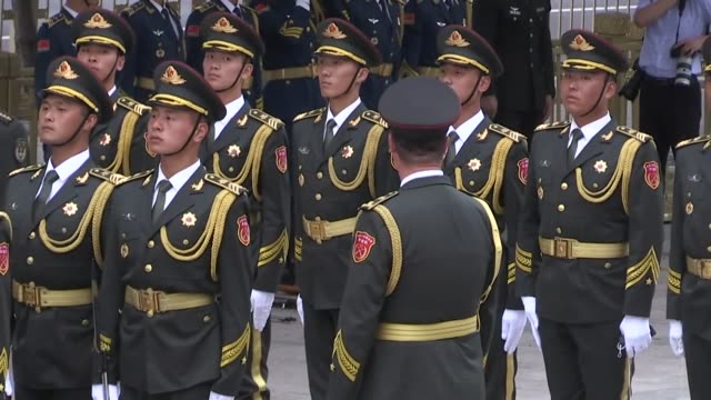 turkish president recep tayyip erdogan is welcomed by his chinese counterpart xi jinping at great hall of the people in beijing on july 02 2019 - presidente video stock e b–roll