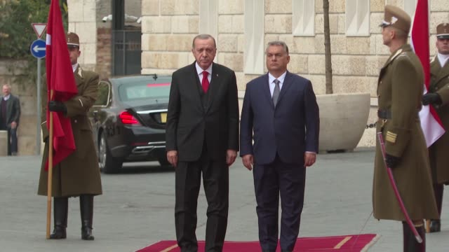 turkish president recep tayyip erdogan is welcomed by hungarian prime minister viktor orban with an official welcoming ceremony in budapest, hungary... - ungarn stock-videos und b-roll-filmmaterial