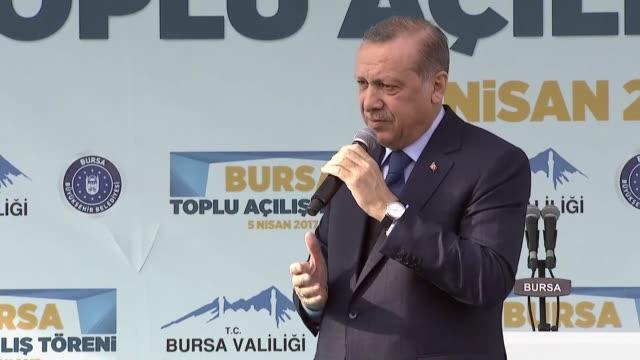 Turkish President Recep Tayyip Erdogan makes a speech during a mass opening ceremony at Bursa Ataturk Stadium in Bursa Turkey on April 05 2017...