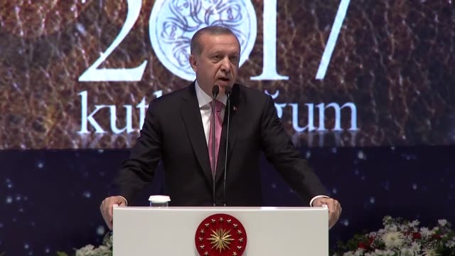 turkish president recep tayyip erdogan makes a speech during a conference within the holy birth week celebrations at istanbul congress center in... - muhammad prophet stock videos & royalty-free footage