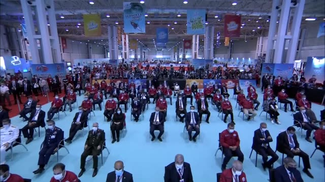 turkish president recep tayyip erdogan makes a speech during the space and technology festival 2020, in gaziantep, turkey on september 26, 2020.... - industry stock videos & royalty-free footage