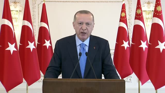 turkish president recep tayyip erdogan makes his speech via teleconference at vahdettin mansion in istanbul, turkey on december 26, 2020. the... - conference call stock videos & royalty-free footage