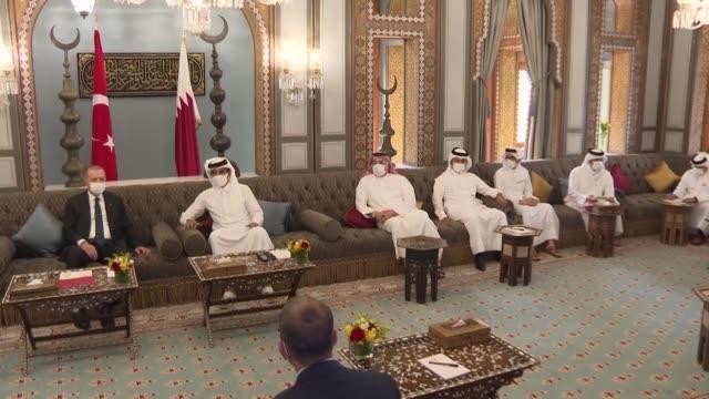 turkish president recep tayyip erdogan meets emir of qatar sheikh tamim bin hamad al thani during his visit in doha, qatar on october 07, 2020. - qatar stock videos & royalty-free footage