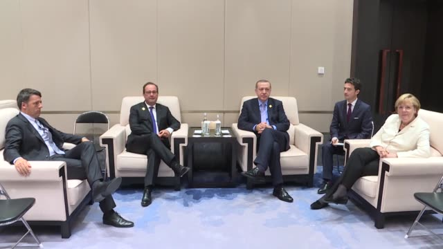 turkish president recep tayyip erdogan meets german chancellor angela merkel president francois hollande of france and italy's prime minister matteo... - group of 20 stock videos & royalty-free footage