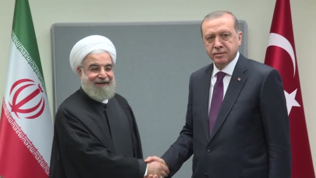 turkish president recep tayyip erdogan meets his iranian counterpart hassan rouhani in new york on september 20 2016 world leaders have gathered in... - september stock videos and b-roll footage