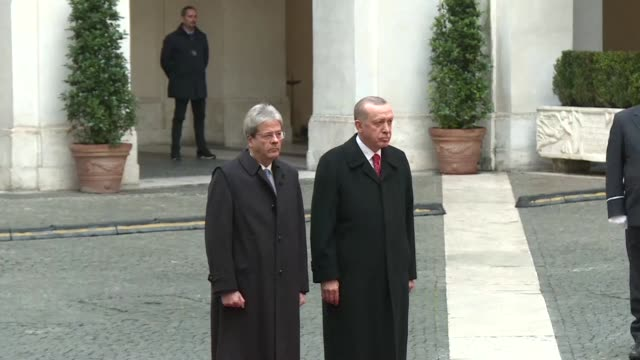 turkish president recep tayyip erdogan meets italian prime minister paolo gentiloni in rome - minister president stock videos and b-roll footage