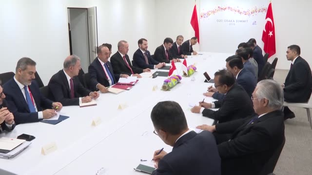 turkish president recep tayyip erdogan meets on june 29 2019 with his indonesian counterpart joko widodo on the sidelines of the g20 summit in japan - g20 leaders' summit stock videos & royalty-free footage