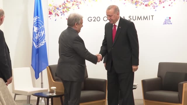 vídeos y material grabado en eventos de stock de turkish president recep tayyip erdogan meets on june 29, 2019 with un secretary-general antonio guterres on the sidelines of the g20 summit in japan. - miembro parte del cuerpo