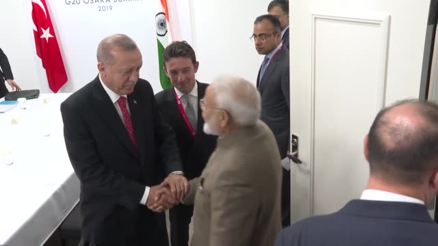 turkish president recep tayyip erdogan meets on june 29 2019 with indian prime minister narendra modi on the sidelines of the g20 summit in japan - g20 leaders' summit stock videos & royalty-free footage