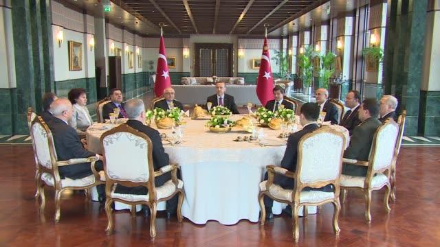 stockvideo's en b-roll-footage met turkish president recep tayyip erdogan meets prime minister ahmet davutoglu speaker of the parliament of turkey cemil cicek president of the... - wetgeving