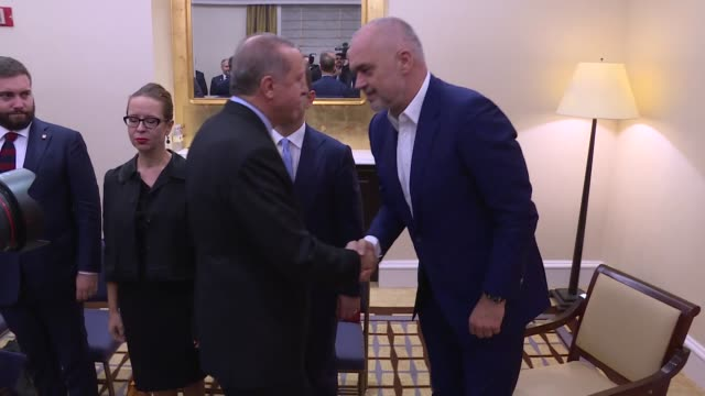 Turkish President Recep Tayyip Erdogan meets Prime Minister of Albania Edi Rama in New York United States on September 20 2017 World leaders gathered...