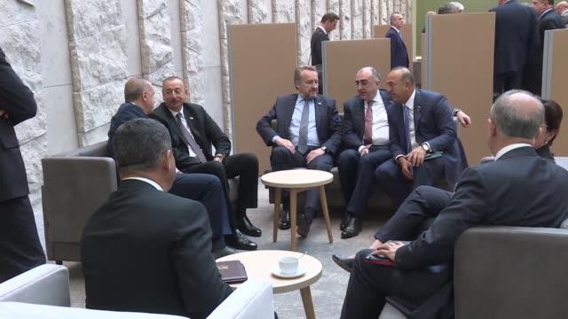 turkish president recep tayyip erdogan meets with azerbaijani president ilham aliyev and bosniak member of the presidency of bosnia and herzegovina... - 2日目点の映像素材/bロール
