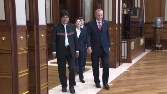 turkish president recep tayyip erdogan meets with bolivian president juan evo morales ayma at presidential complex in ankara, turkey on april 09,... - evo morales stock videos & royalty-free footage