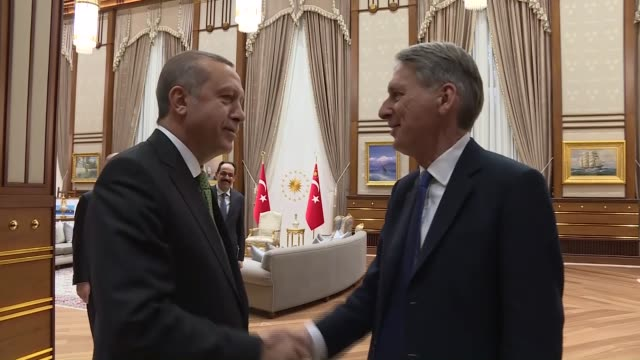 turkish president recep tayyip erdogan meets with british foreign minister philip hammond at the presidential complex in ankara turkey on january 14... - foreign minister stock videos and b-roll footage