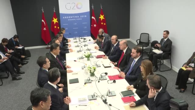 turkish president recep tayyip erdogan meets with chinese president xi jinping as part of g20 leaders' summit in argentina's capital buenos aires on... - g20 leaders' summit stock videos & royalty-free footage
