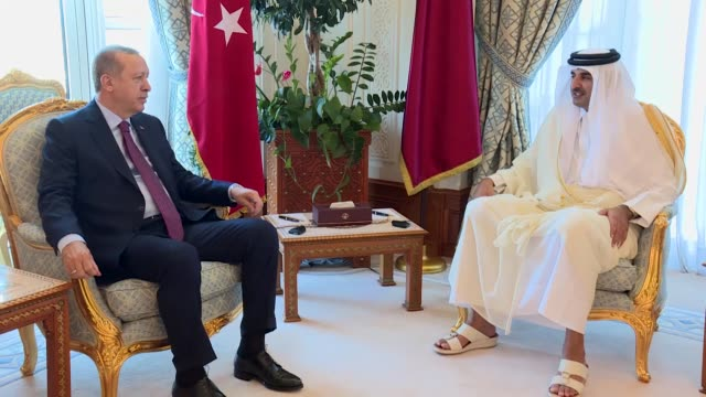 turkish president recep tayyip erdogan meets with emir of qatar sheikh tamim bin hamad al thani in doha, qatar on november 15, 2017. turkish... - シャイフ点の映像素材/bロール