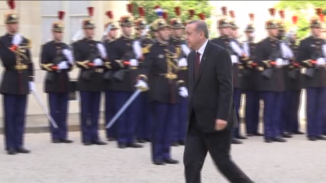 turkish president recep tayyip erdogan meets with french president francois hollande at the elysee presidential palace in paris, france on october... - françois hollande stock videos & royalty-free footage