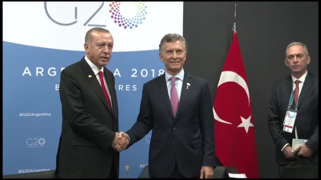 turkish president recep tayyip erdogan meets with his argentinian counterpart mauricio macri on the sidelines of g20 leaders' summit in buenos aires... - mauricio macri stock videos and b-roll footage