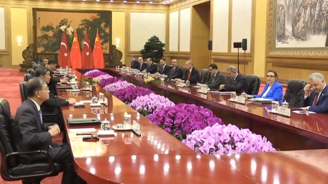 turkish president recep tayyip erdogan meets with his chinese counterpart xi jinping at great hall of the people after welcoming ceremony in beijing... - beijing stock videos & royalty-free footage