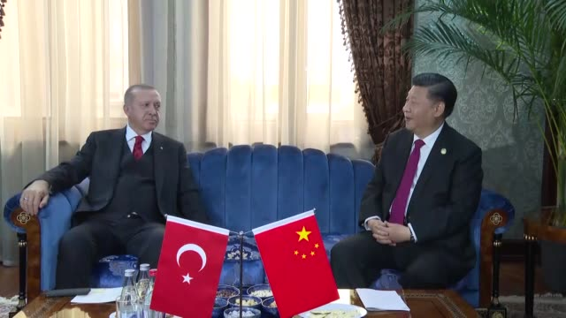 turkish president recep tayyip erdogan meets with his chinese counterpart xi jinping on the sidelines of the 5th summit of conference on interaction... - democracy stock videos & royalty-free footage