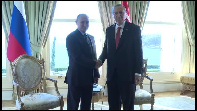 turkish president recep tayyip erdogan meets with his russian counterpart vladimir putin at vahdettin pavilion prior to the 4way syria summit on... - angela merkel stock videos & royalty-free footage