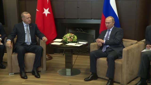 turkish president recep tayyip erdogan meets with his russian counterpart vladimir putin in sochi, russia on october 22, 2019. meeting with russian... - recep tayyip erdoğan stock videos & royalty-free footage