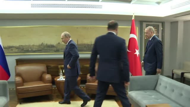 turkish president recep tayyip erdogan meets with his russian counterpart vladimir putin prior to the opening ceremony of turkstream natural gas... - cube stock videos & royalty-free footage