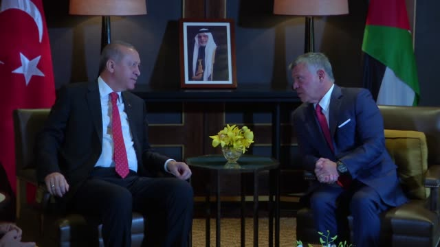 Turkish President Recep Tayyip Erdogan meets with King Abdullah II of Jordan after an official welcoming ceremony at the Al Husseiniya Palace in...
