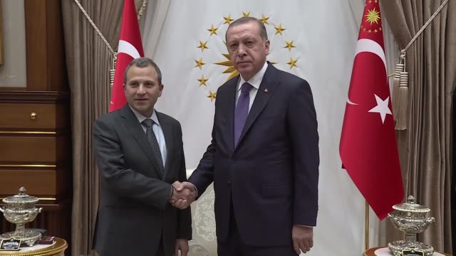 Turkish President Recep Tayyip Erdogan meets with Lebanese Foreign Affairs and Emigrants Minister Gebran Bassil at the Presidential Complex in Ankara...