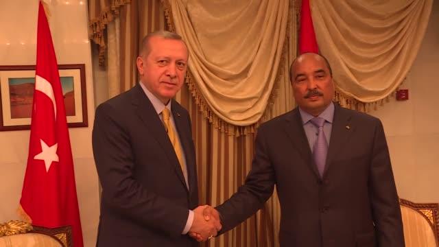 turkish president recep tayyip erdogan meets with mauritanian president mohammad veled abdulaziz in nouakchott, mauritania on february 28, 2018. - ヌアクショット点の映像素材/bロール