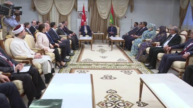 turkish president recep tayyip erdogan meets with mauritanian president mohammad veled abdulaziz at presidential palace in nouakchott, mauritania on... - ヌアクショット点の映像素材/bロール