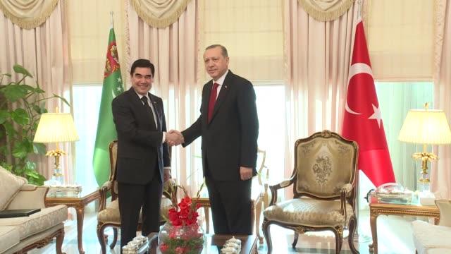 Turkish President Recep Tayyip Erdogan meets with President of Turkmenistan Gurbanguly Berdimuhamedow as the 13th Economy Cooperation Organization...