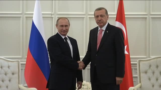 Turkish President Recep Tayyip Erdogan meets with Russian President Vladimir Putin in Baku where he attended the opening ceremony of the First Baku...