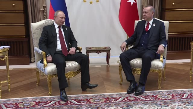turkish president recep tayyip erdogan meets with russian president vladimir putin following the official welcoming ceremony at presidential complex... - wladimir putin stock-videos und b-roll-filmmaterial