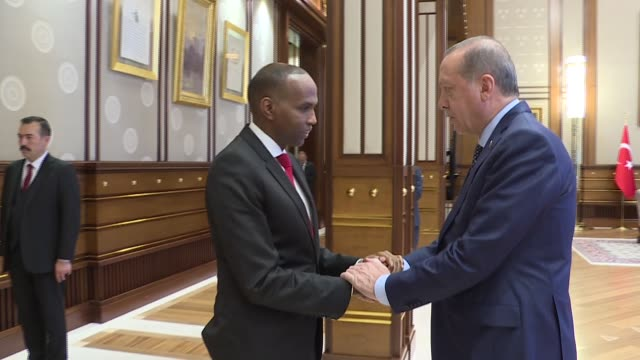 Turkish President Recep Tayyip Erdogan meets with Somalian Prime Minister Hassan Ali Khayre at Presidential Complex in Ankara Turkey on October 26...