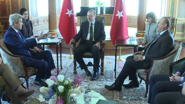 Turkish President Recep Tayyip Erdogan meets with US Secretary of State John Kerry at Turkish Embassy in Washington USA on March 30 2016 Turkish...