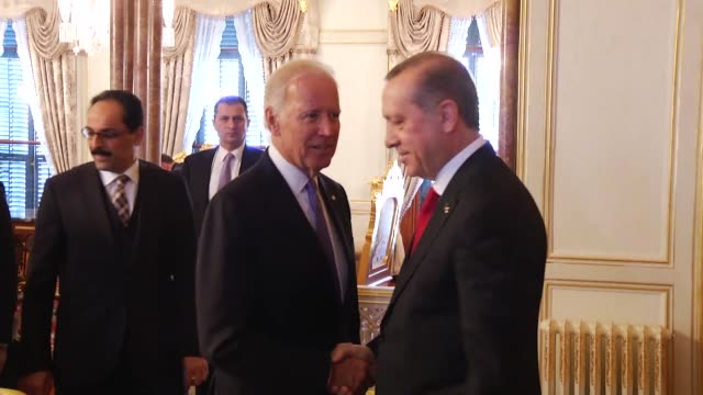 Turkish President Recep Tayyip Erdogan meets with US Vice President Joe Biden at historical Mabeyn Palace in Yildiz Palace Complex in Istanbul Turkey...