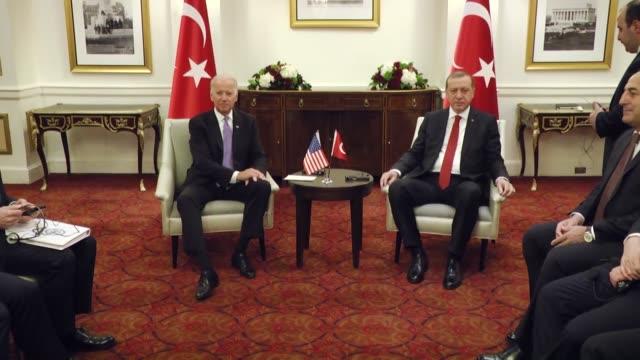 turkish president recep tayyip erdogan meets with u.s. vice president joe biden at the st. regis hotel in washington, usa on march 31, 2016. - diplomacy stock videos & royalty-free footage