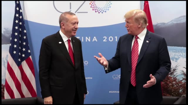 turkish president recep tayyip erdogan met with his us counterpart donald trump in argentina on saturday the closeddoor meeting between two leaders... - group of 20 stock videos & royalty-free footage