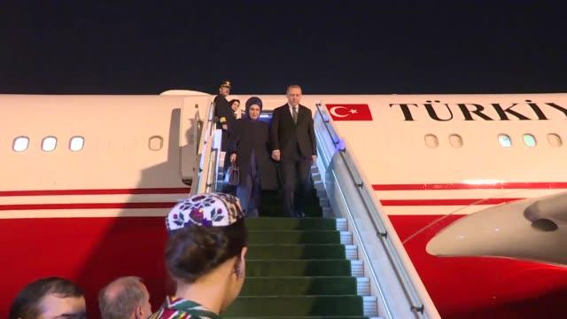 Turkish President Recep Tayyip Erdogan on April 29 2018 arrived in Uzbekistan's capital Tashkent on a threeday official visitThe president was...