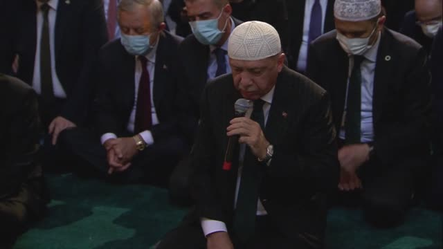 turkish president recep tayyip erdogan on friday recited the quran ahead of historic building's reopening for worship for the first time in 86 years.... - istanbul province stock videos & royalty-free footage