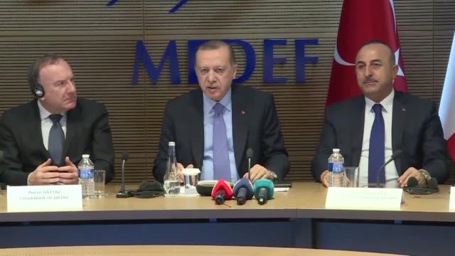 Turkish President Recep Tayyip Erdogan on Janury 05 2018 called on French businesses in Paris to take part in Turkey's economic growth Erdogan made...