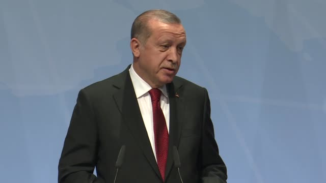 turkish president recep tayyip erdogan on saturday emphasized the need for global action against terrorism saying that no region was safe from terror... - 首脳会議点の映像素材/bロール