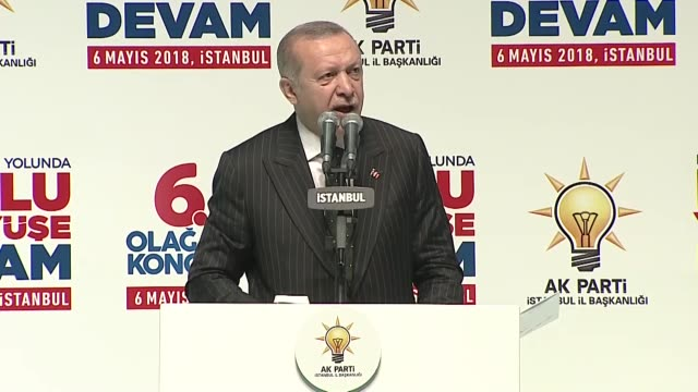 turkish president recep tayyip erdogan on sunday announced his ruling justice and development party's manifesto ahead of the june 24... - 金利点の映像素材/bロール