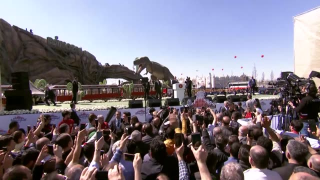 """turkish president recep tayyip erdogan on wednesday inaugurated europe's biggest theme park in capital ankara""""ankapark will have major contributions... - world record stock videos & royalty-free footage"""