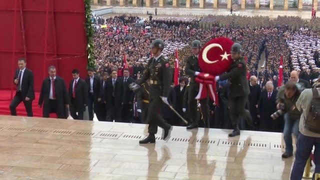 vidéos et rushes de turkish president recep tayyip erdogan, parliament speaker ismail kahraman, prime minister binali yildirim, main opposition republican people's party... - cérémonie